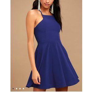 Lulu's call to charms blue skater mini dress M